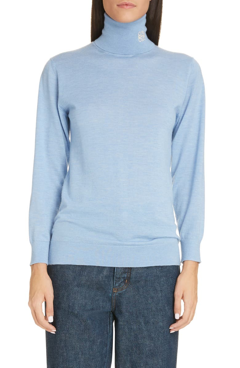 LOEWE Anagram Logo Cashmere Turtleneck Sweater, Main, color, 450