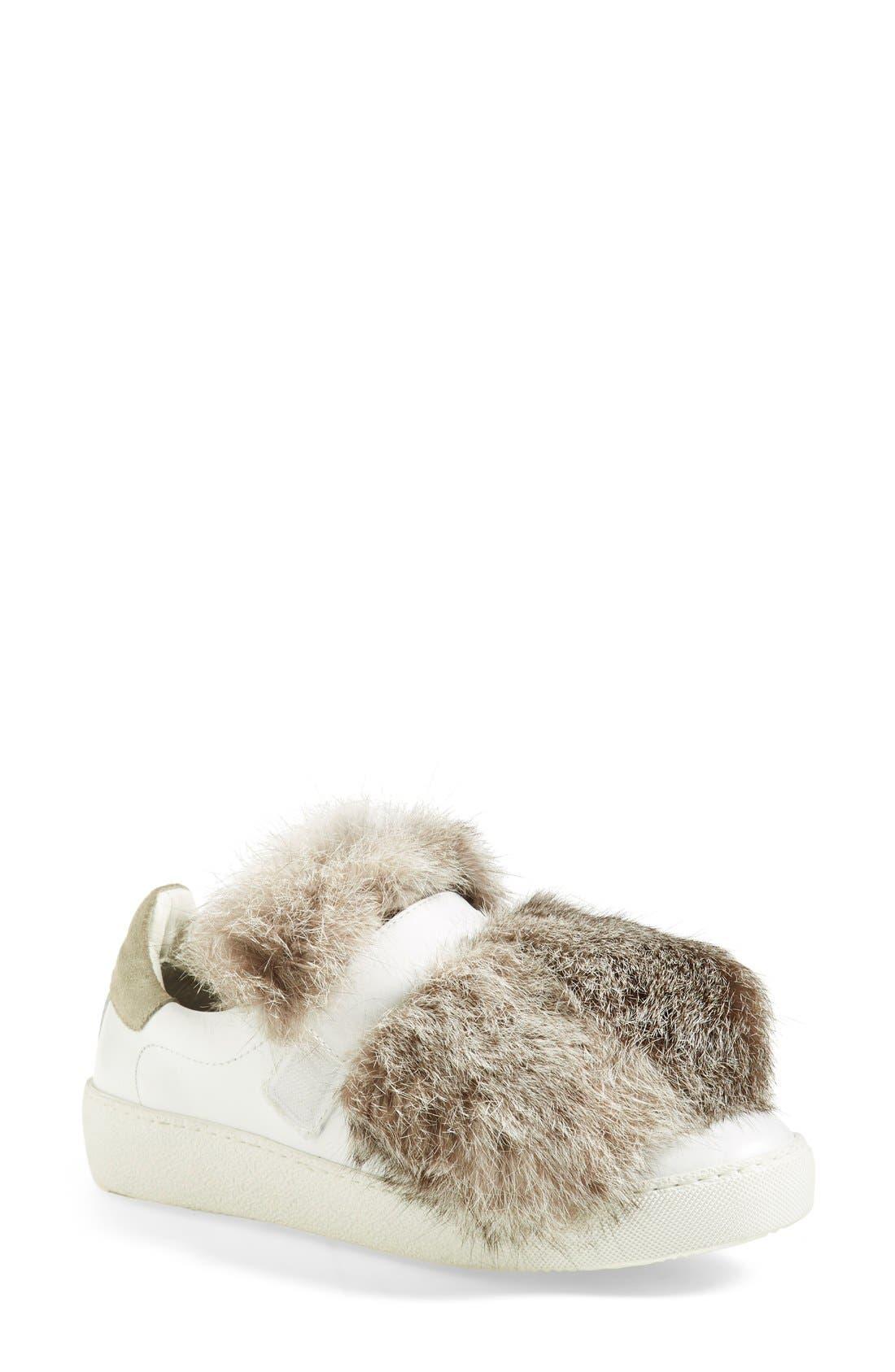 Moncler 'Lucie' Genuine Rabbit Fur Trim