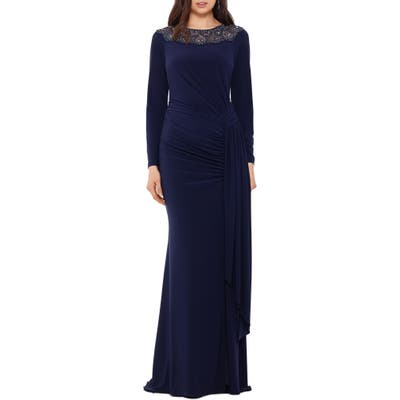 Xscape Beaded Neck Long Sleeve Ruched Jersey Gown, Blue