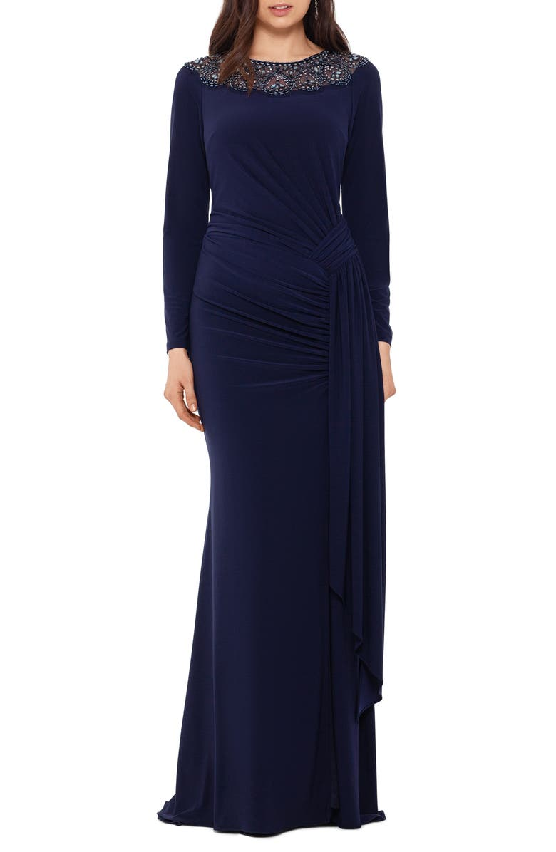 XSCAPE Beaded Neck Long Sleeve Ruched Jersey Gown, Main, color, NAVY