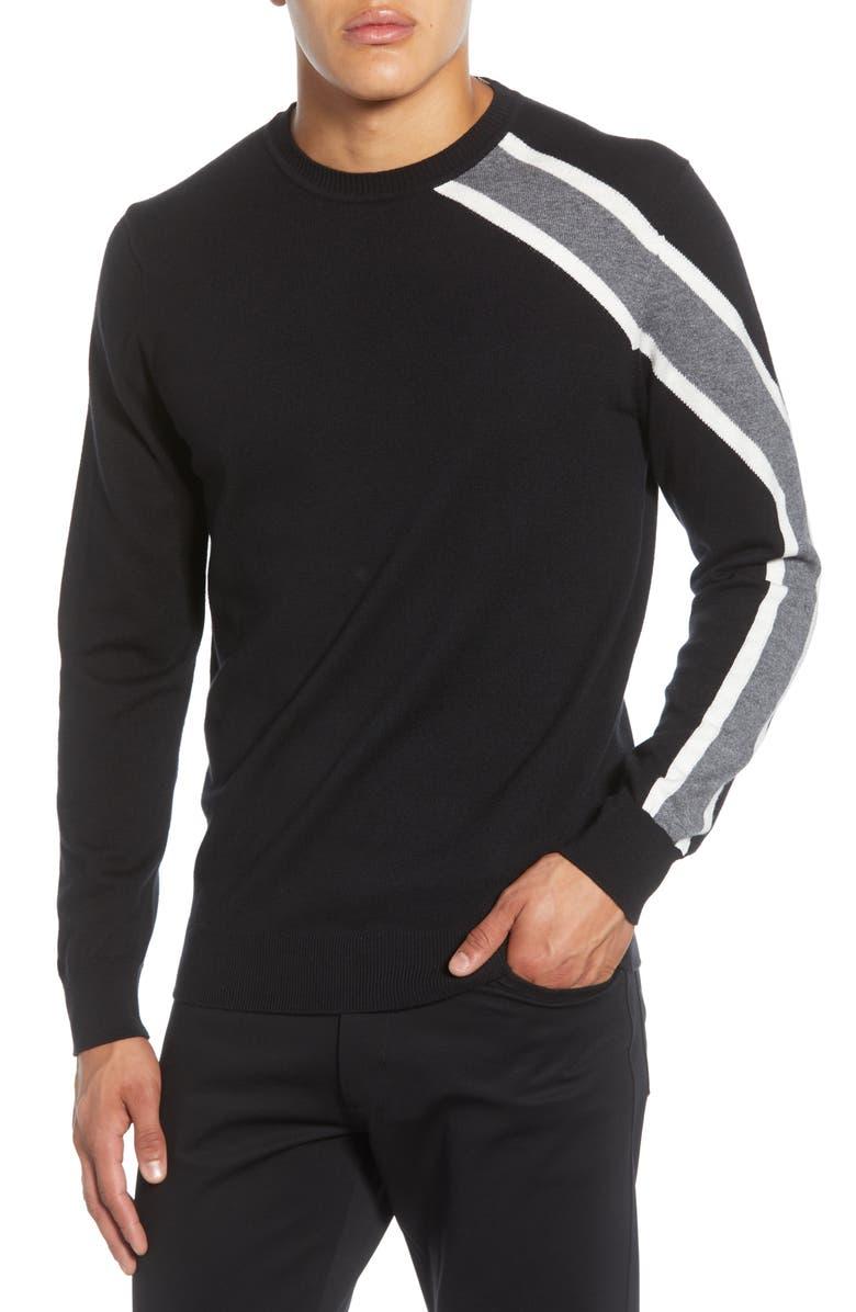 KARL LAGERFELD PARIS Rugby Shoulder Stripe Crewneck Sweater, Main, color, BLACK COMBO