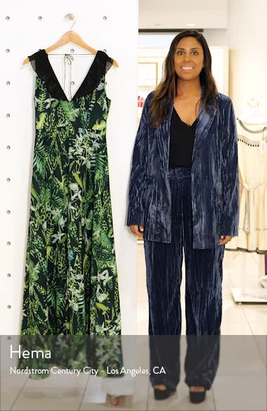 Print Ruffle V-Neck Evening Gown, sales video thumbnail