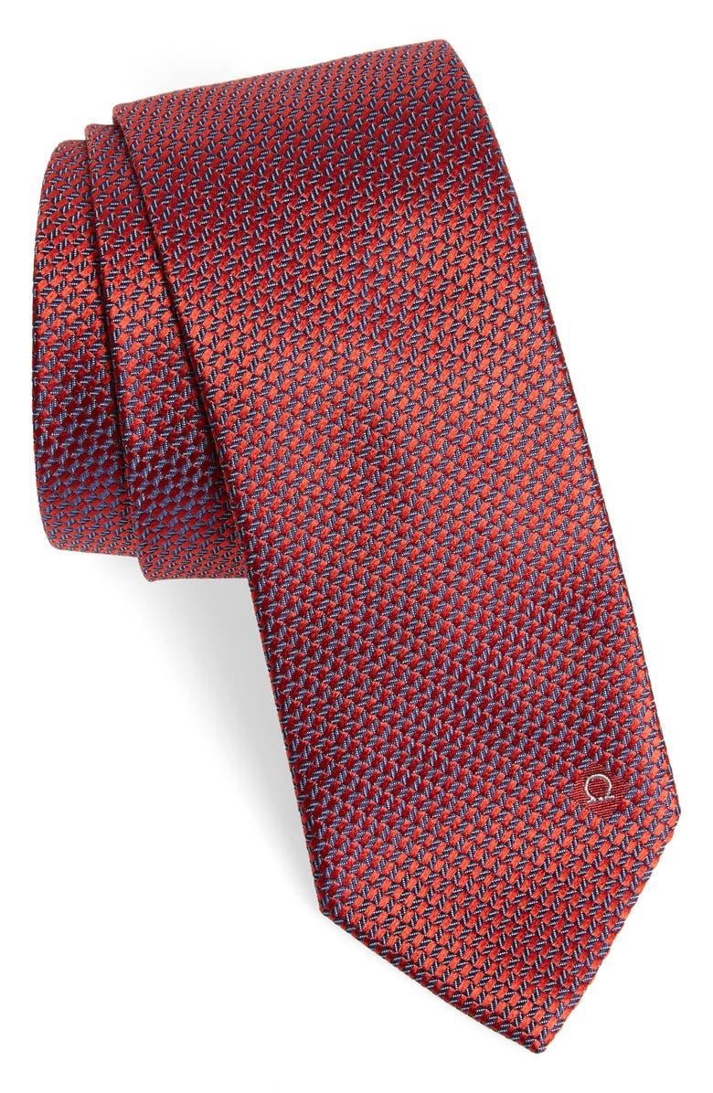 SALVATORE FERRAGAMO Geometric Silk Tie, Main, color, F.ROSSO