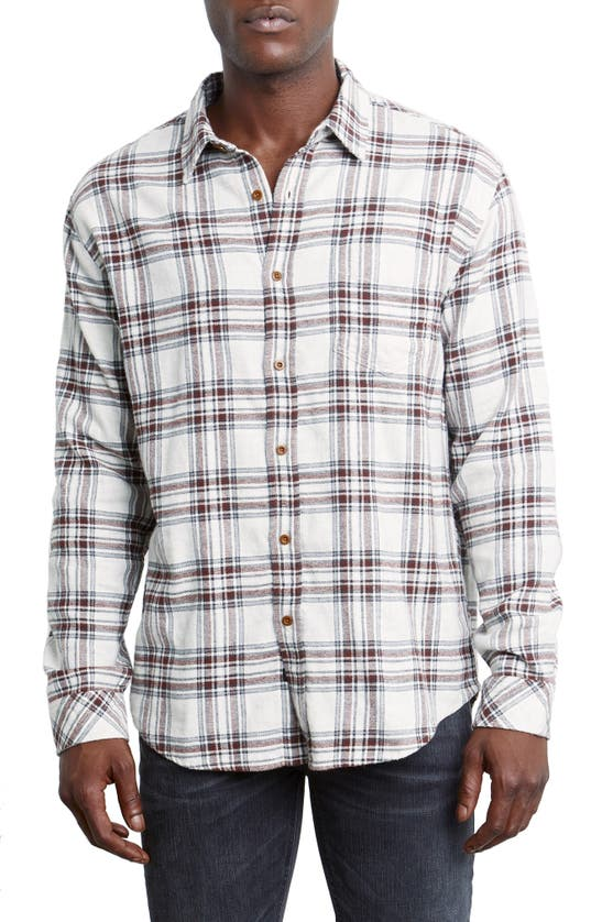 Rails Sussex Cotton Plaid Relaxed Fit Button Down Shirt In Oat Grey/ Brick