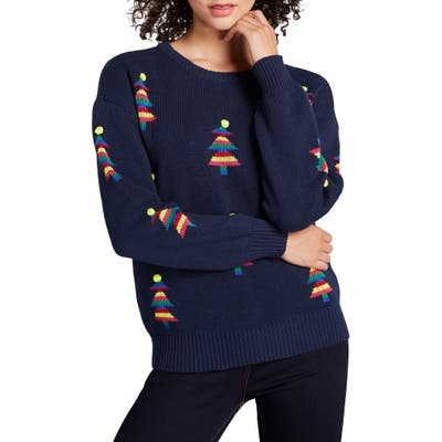 Modcloth Christmas Tree Sweater, Blue