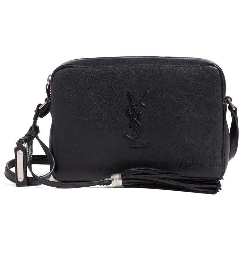SAINT LAURENT Small Mono Leather Camera Bag, Main, color, 001