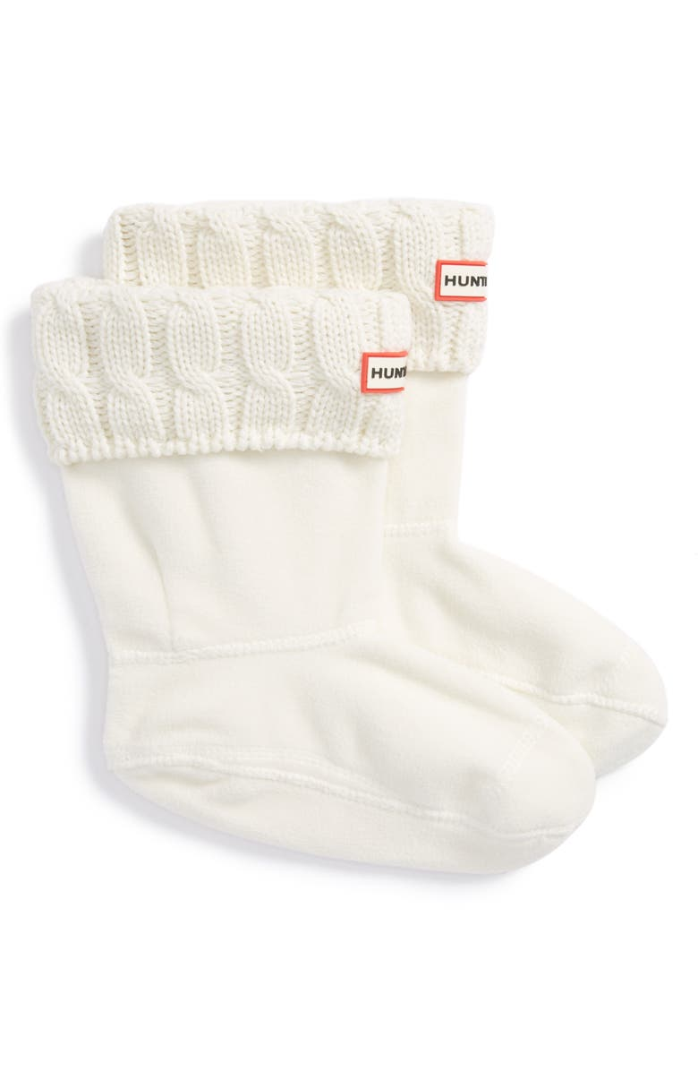 HUNTER Original Short Cable Knit Cuff Welly Boot Socks, Main, color, NATURAL WHITE