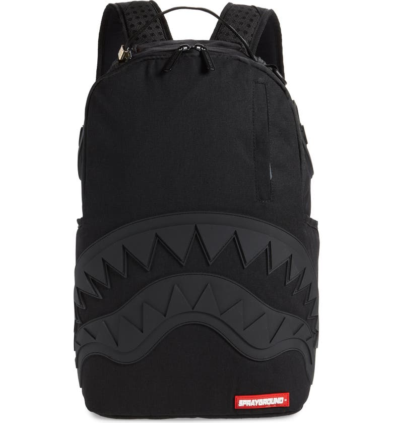 SPRAYGROUND Ghost Rubber Shark Black Backpack, Main, color, 001