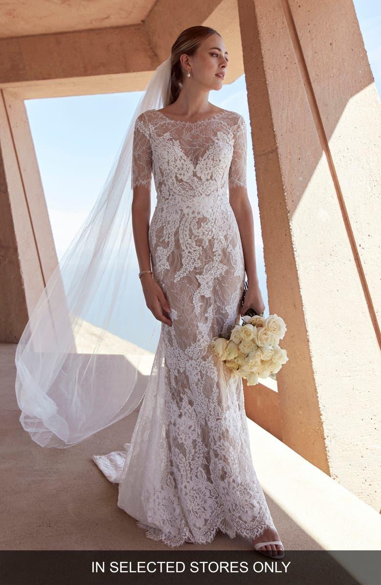 WATTERS Jourdan Lace Trumpet Wedding Dress, Main, color, IVORY/ TUSCAN