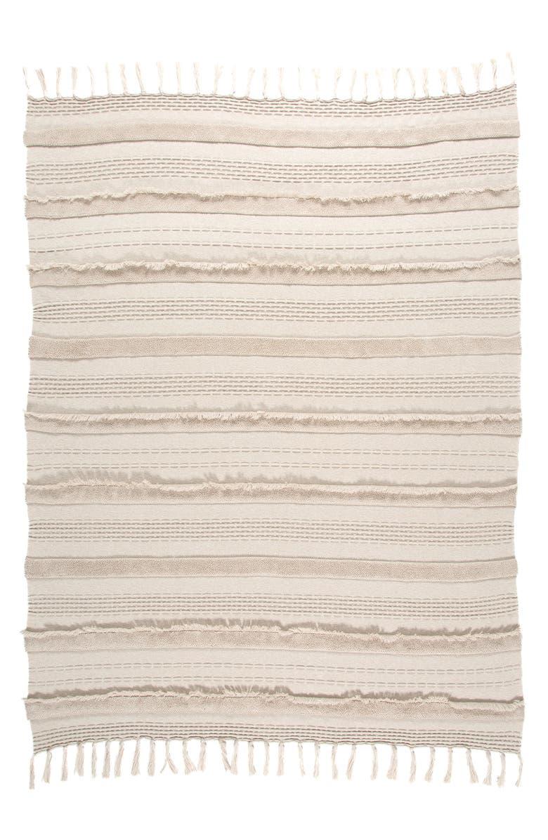 LORENA CANALS Fringe Knit Blanket, Main, color, DUNE WHITE