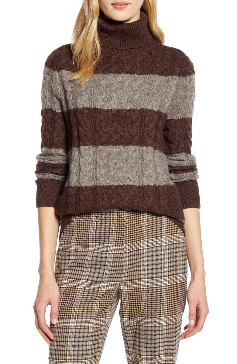 HALOGEN<SUP>®</SUP> x Atlantic-Pacific Cable Knit Turtleneck Sweater, Main, color, BROWN STRIPE