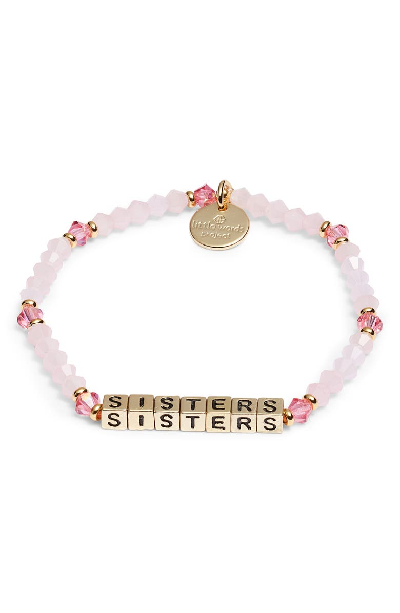 LITTLE WORDS PROJECT Sisters Beaded Stretch Bracelet, Main, color, PINK/ GOLD