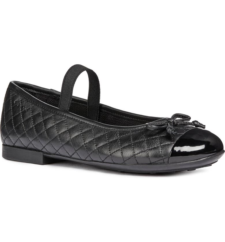 GEOX Plie Mary Jane Flat, Main, color, DARK BLACK