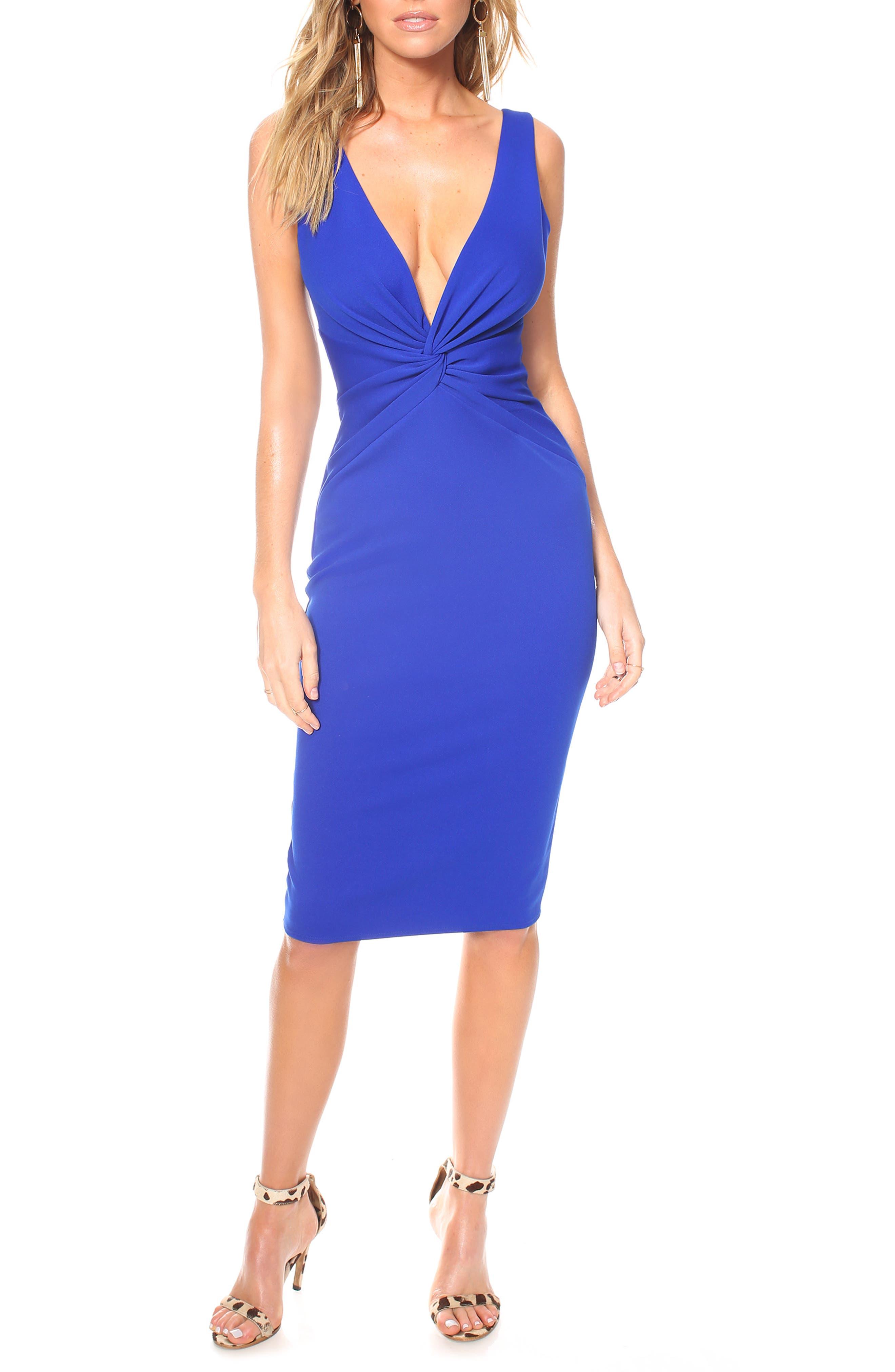 Katie May Zaza Plunge Neck Body-Con Dress, Blue
