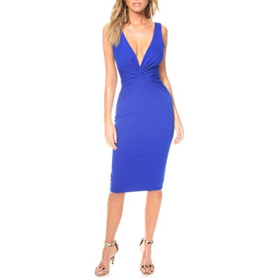 Katie May Zaza Plunge Neck Body-Con Dress, Blue