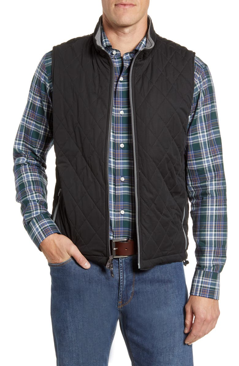 PETER MILLAR All Day Reversible Quilted Vest, Main, color, BLACK