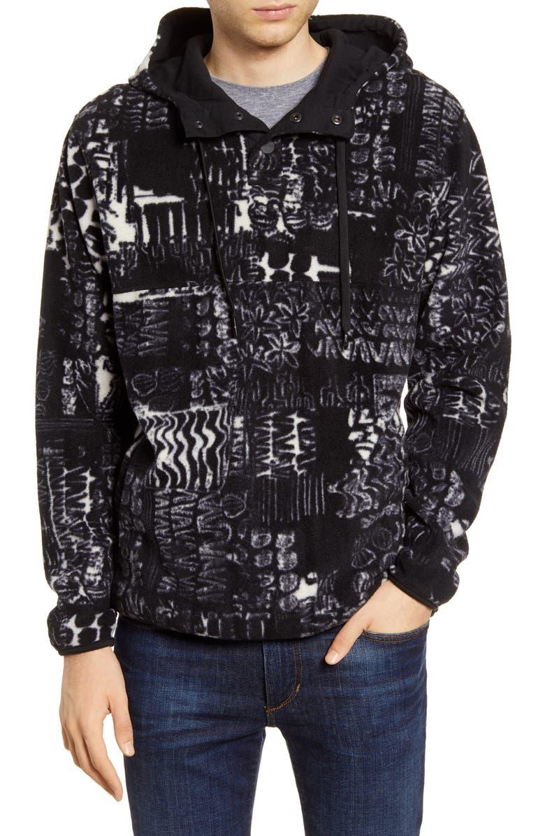RVCA Mundy Polar Fleece Hooded Pullover, Main, color, BLACK