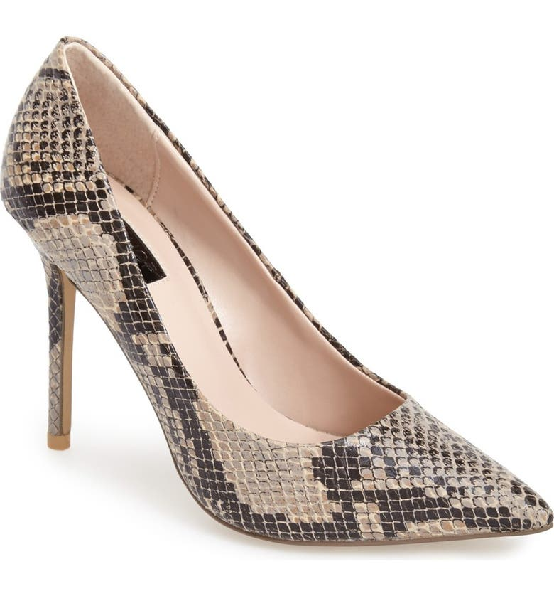 TOPSHOP 'Gemini2' Snake Effect Pointy Toe Pump, Main, color, 250