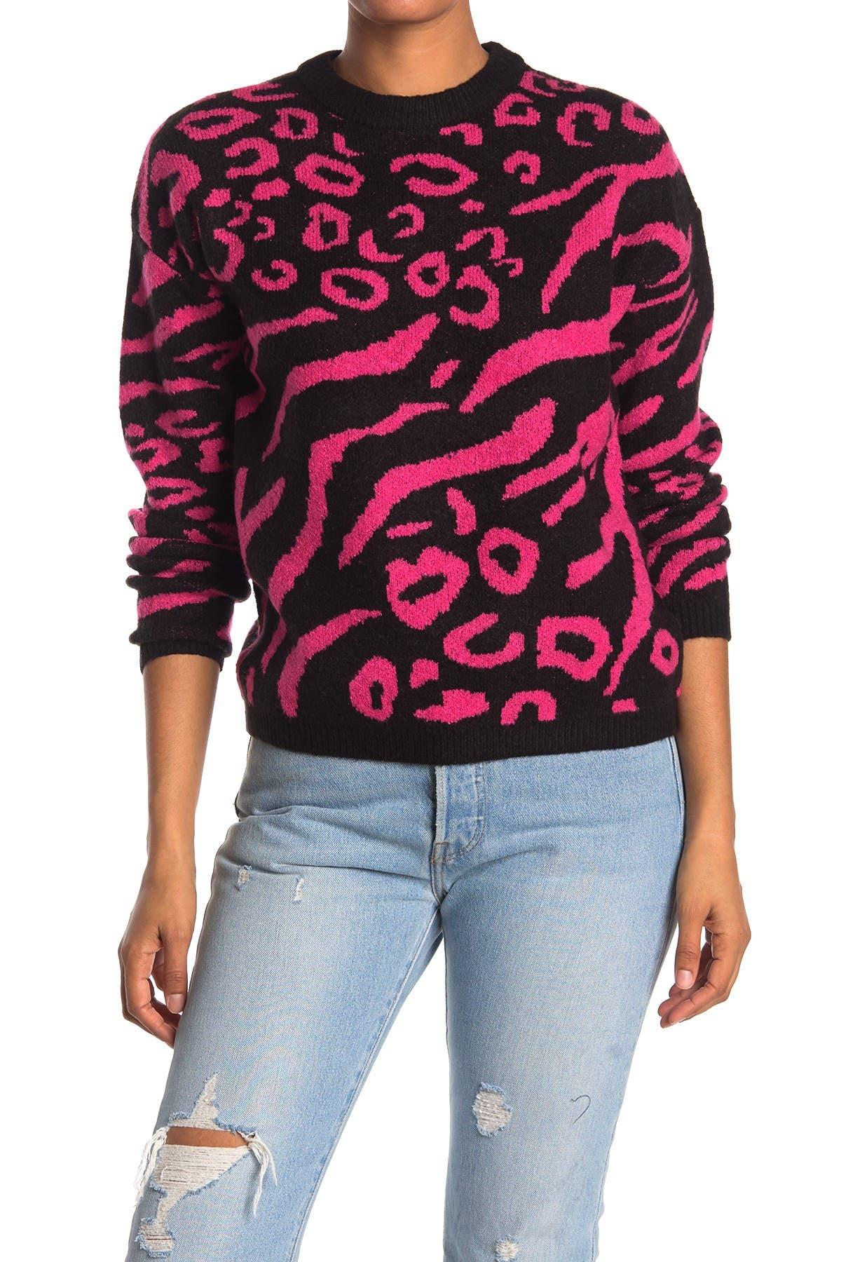 Image of Elodie Animal Print Crew Neck Sweater