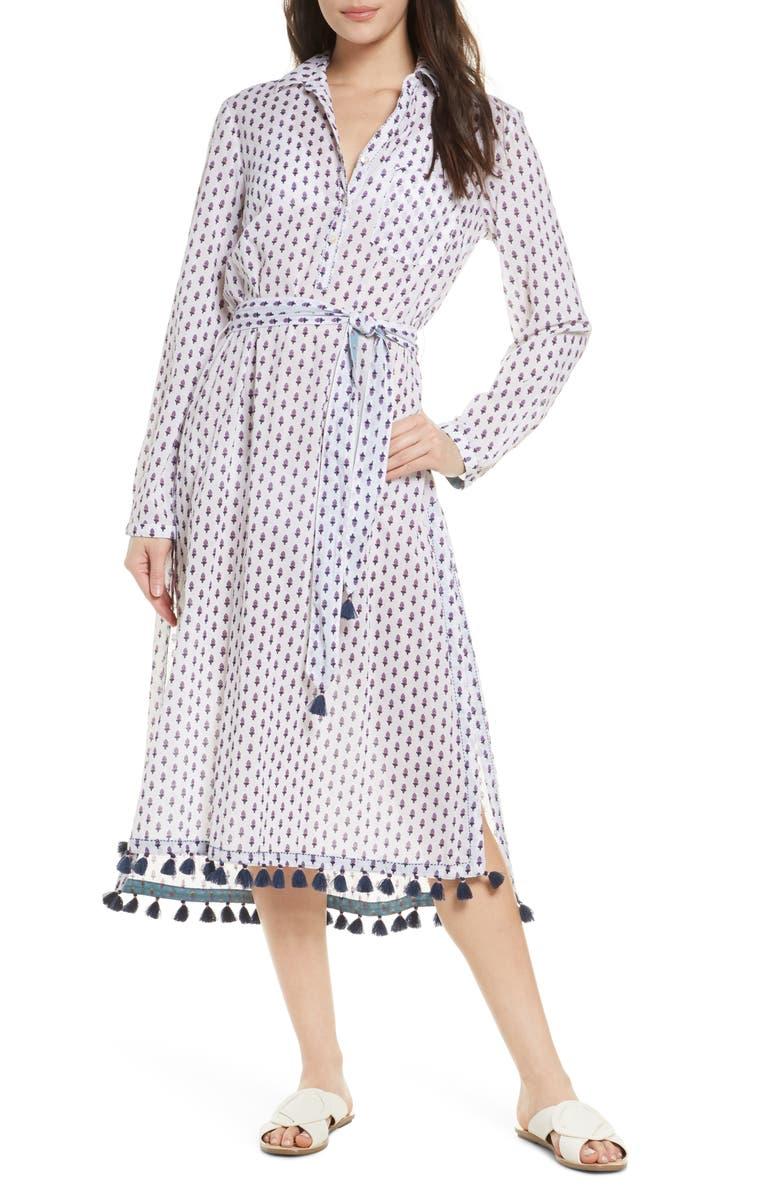 ROLLER RABBIT Pema Denae Kurta Cover-Up Shirtdress, Main, color, WHITE