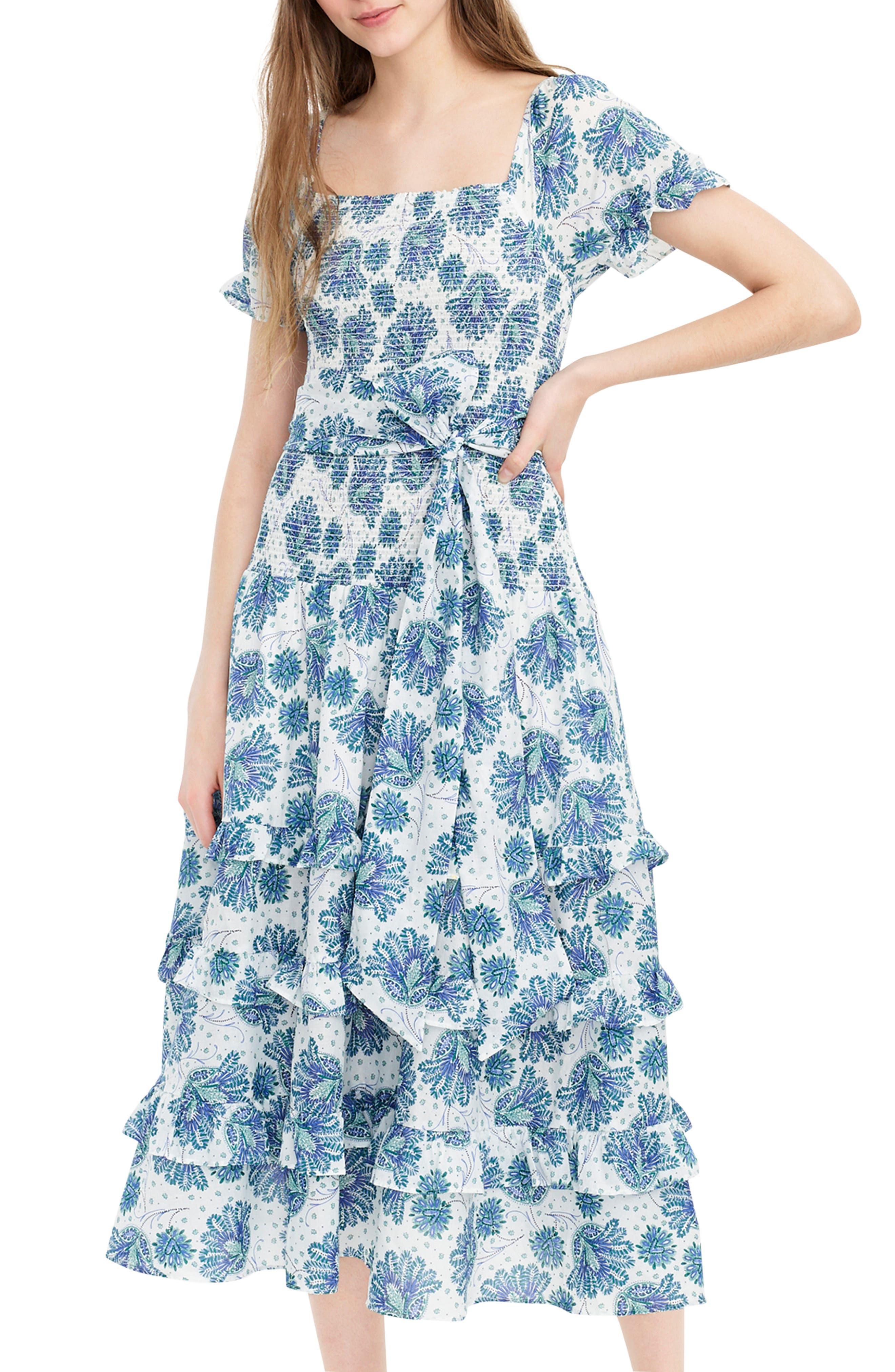 J.crew Smocked Prairie Midi Dress, Ivory