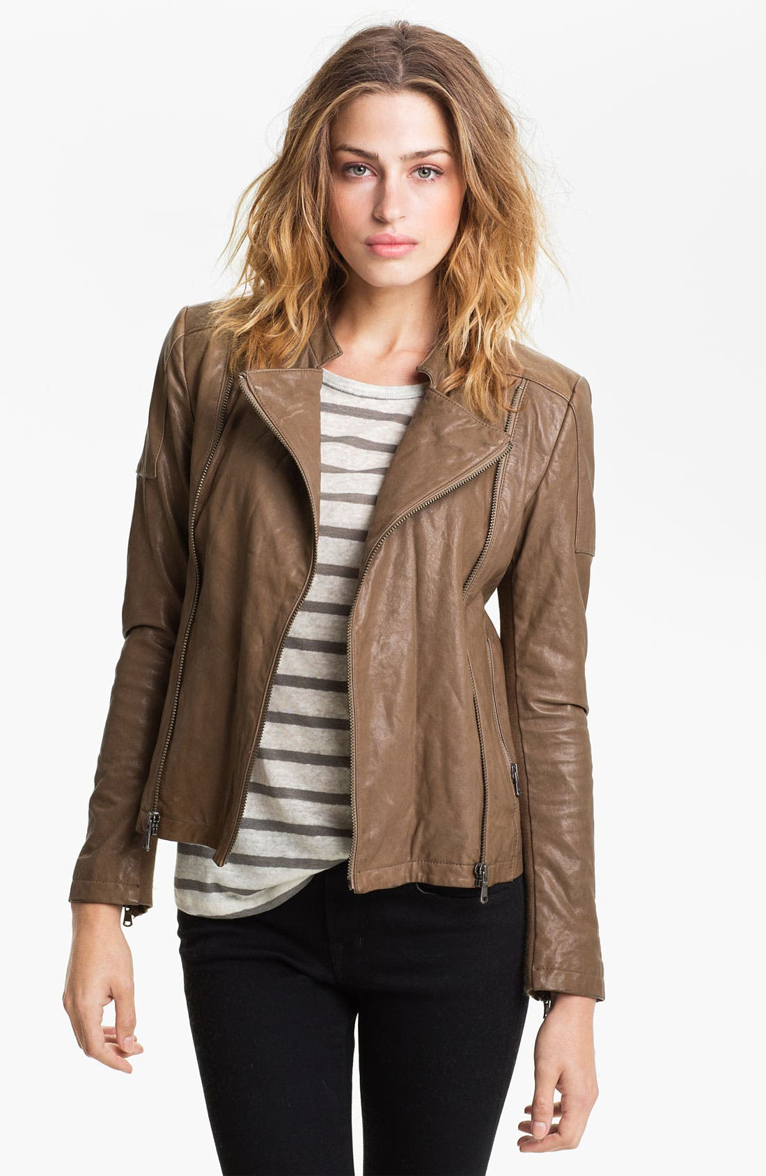 Leather Moto Jacket, Main, color, 250