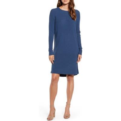 Caslon Long Sleeve Thermal Stitch Sweater Dress, Blue