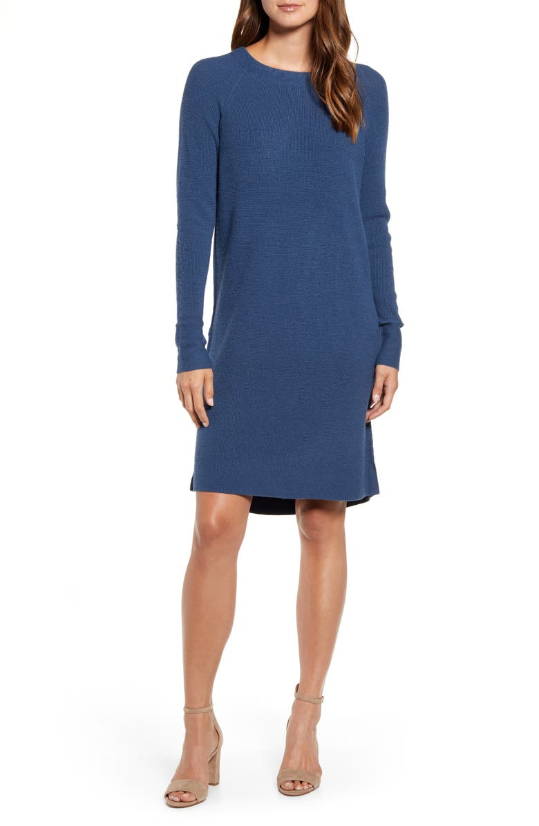 CASLON<SUP>®</SUP> Long Sleeve Thermal Stitch Sweater Dress, Main, color, BLUE WING