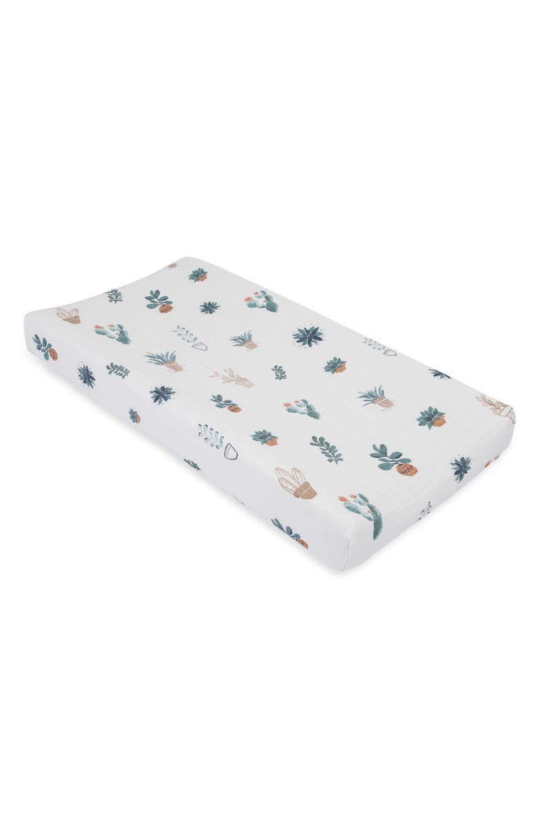 LITTLE UNICORN Cotton Muslin Changing Pad Cover, Main, color, PRICKLE POT