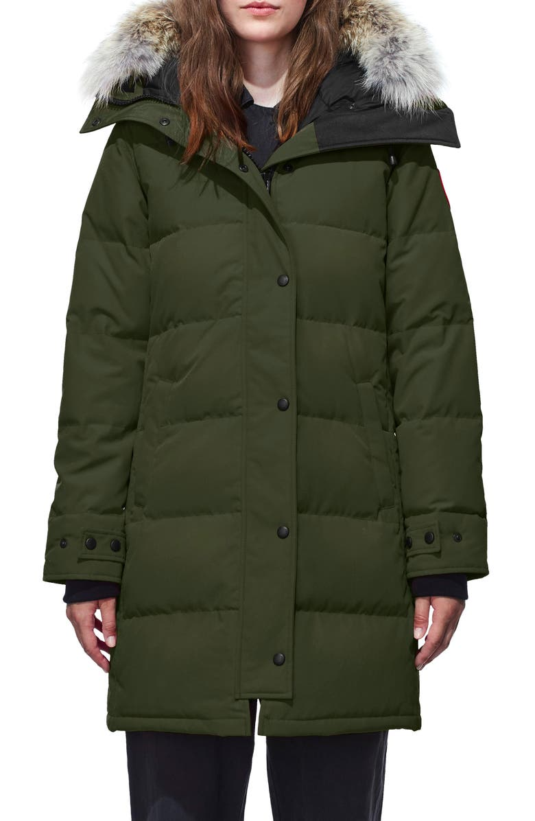 CANADA GOOSE Shelburne Genuine Coyote Fur Trim Down Parka, Main, color, MILITARY GREEN