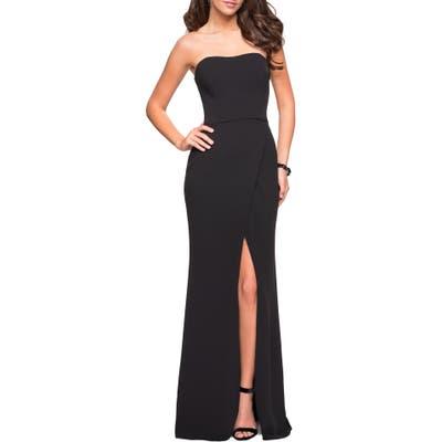 La Femme Strapless Jersey Evening Dress, Black