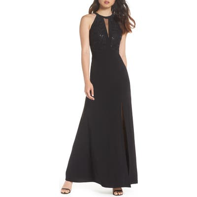 Morgan & Co. Lace & Jersey Gown, /4 - Black