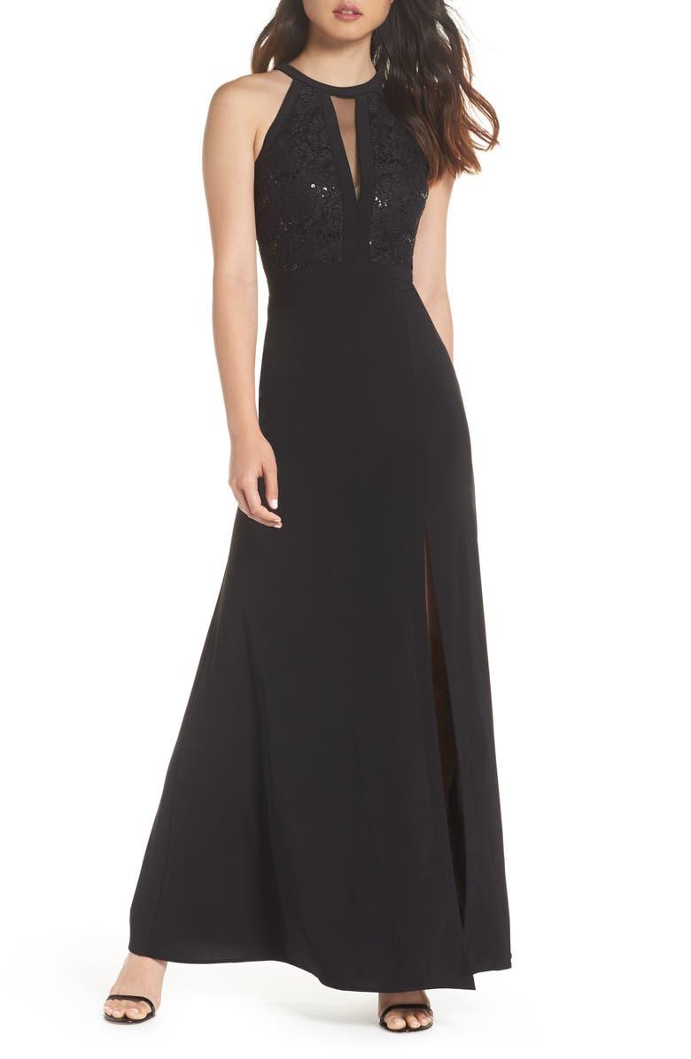 MORGAN & CO. Lace & Jersey Gown, Main, color, BLACK