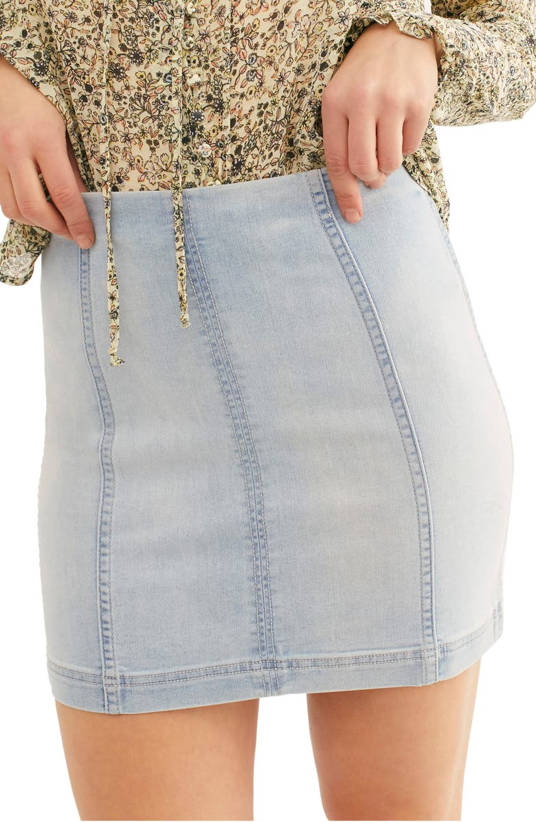 FREE PEOPLE We the Free by Free People Modern Denim Miniskirt, Main, color, FADED BLUE WASH