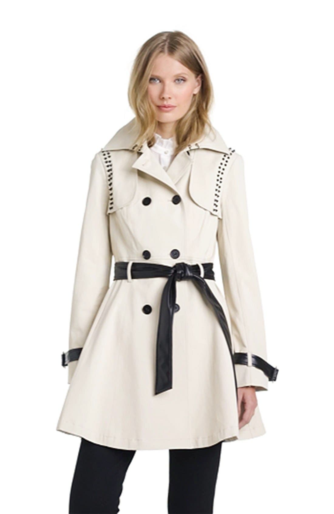 ,                             Stud & Faux Leather Trim Trench Coat,                             Alternate thumbnail 5, color,                             272