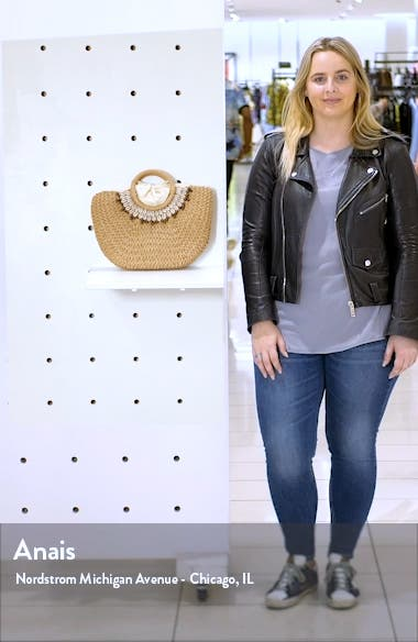 Shell & Bead Straw Top Handle Bag, sales video thumbnail