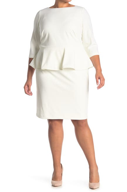Image of Calvin Klein Solid 3/4 Sleeve Peplum Sheath Dress