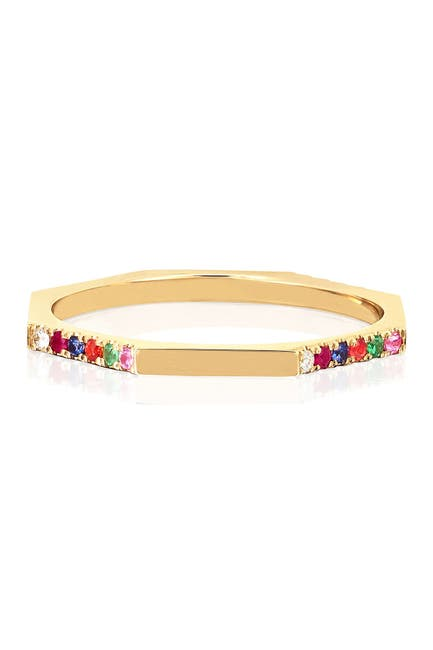 Image of EF Collection 14K Yellow Gold Half Pave Set Multi-Color Stone Octagon Shaped Stack Ring - Size 6