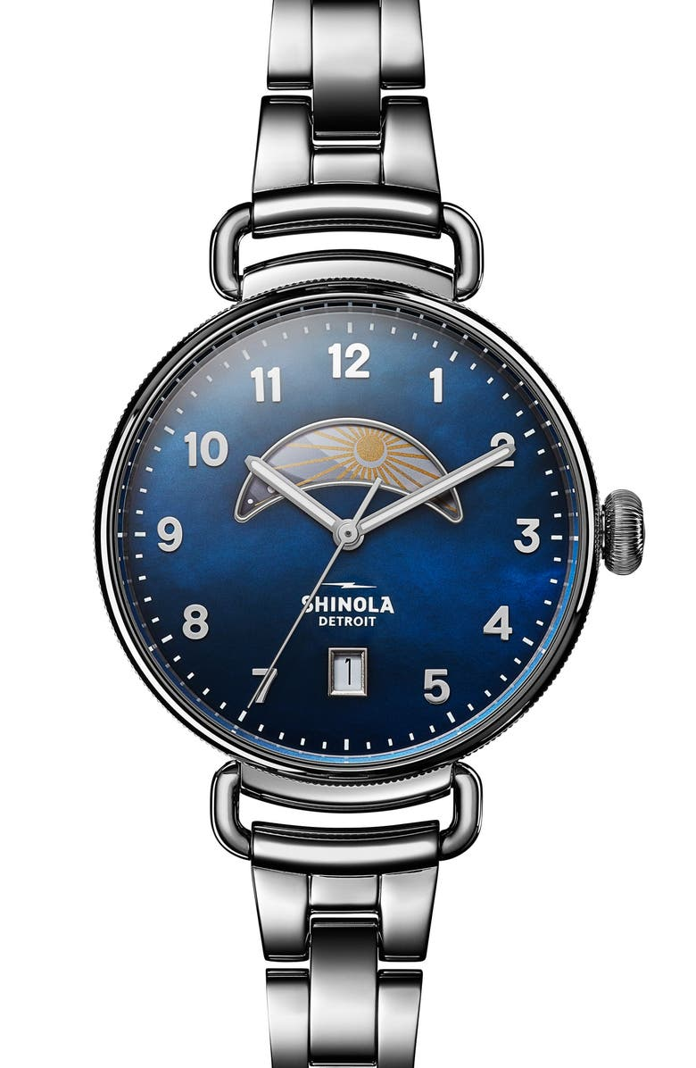 SHINOLA The Canfield Bracelet Watch, 38mm, Main, color, SILVER/ MIDNIGHT BLUE/ SILVER