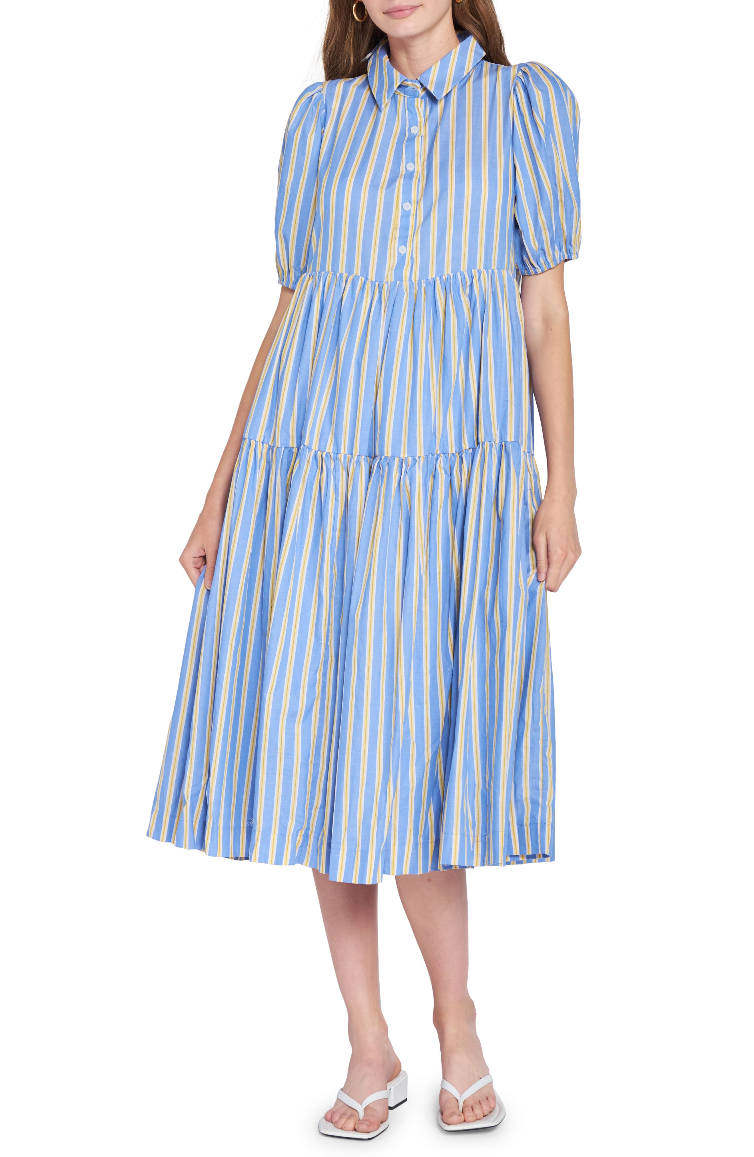 Stripe Cotton Midi Shirtdress