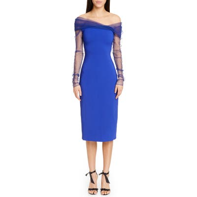 Cushnie Off The Shoulder Tulle Long Sleeve Midi Dress, Blue
