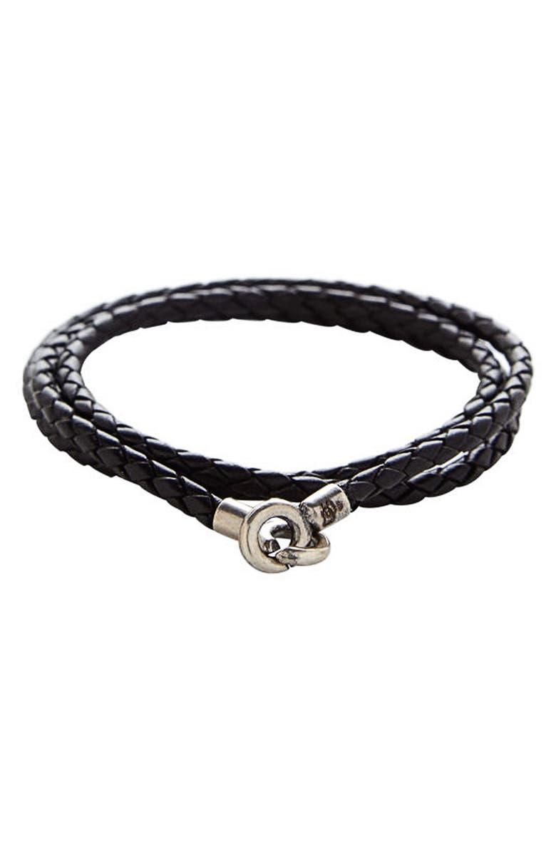 DEGS & SAL Leather Wrap Bracelet, Main, color, 001
