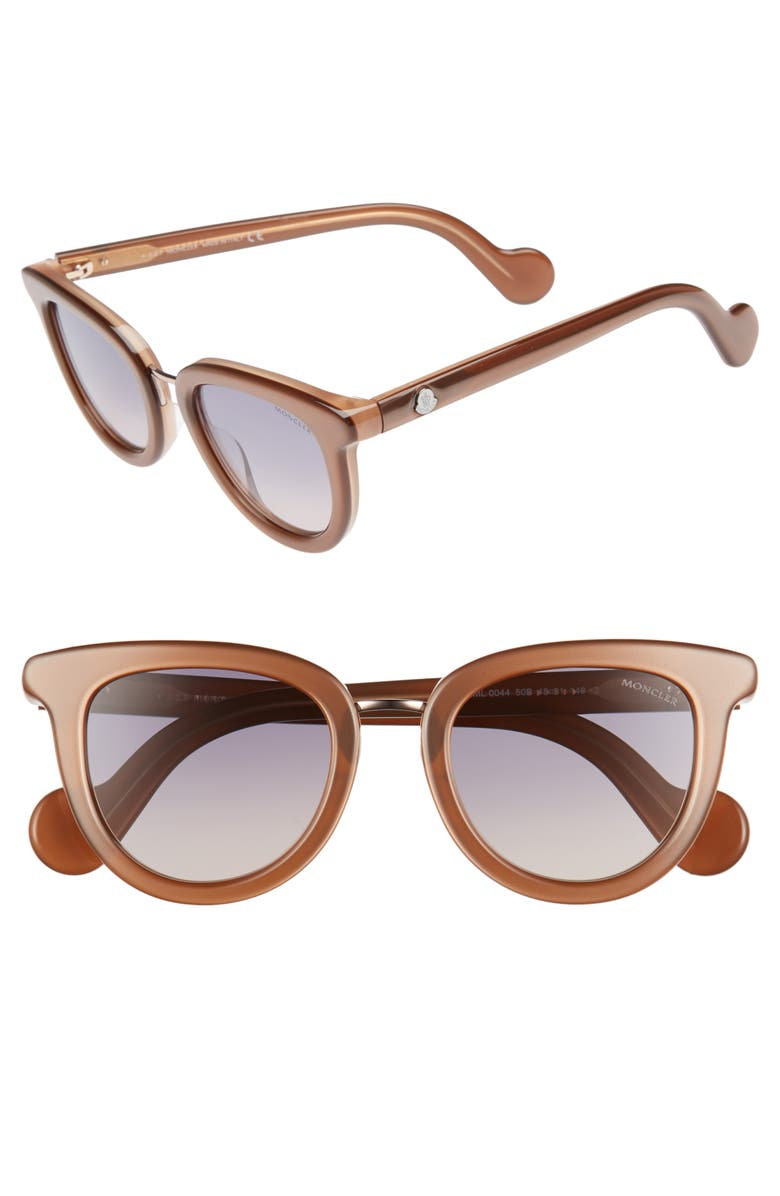 MONCLER 48mm Cat Eye Sunglasses, Main, color, PEARL BROWN/ GREY/ SAND