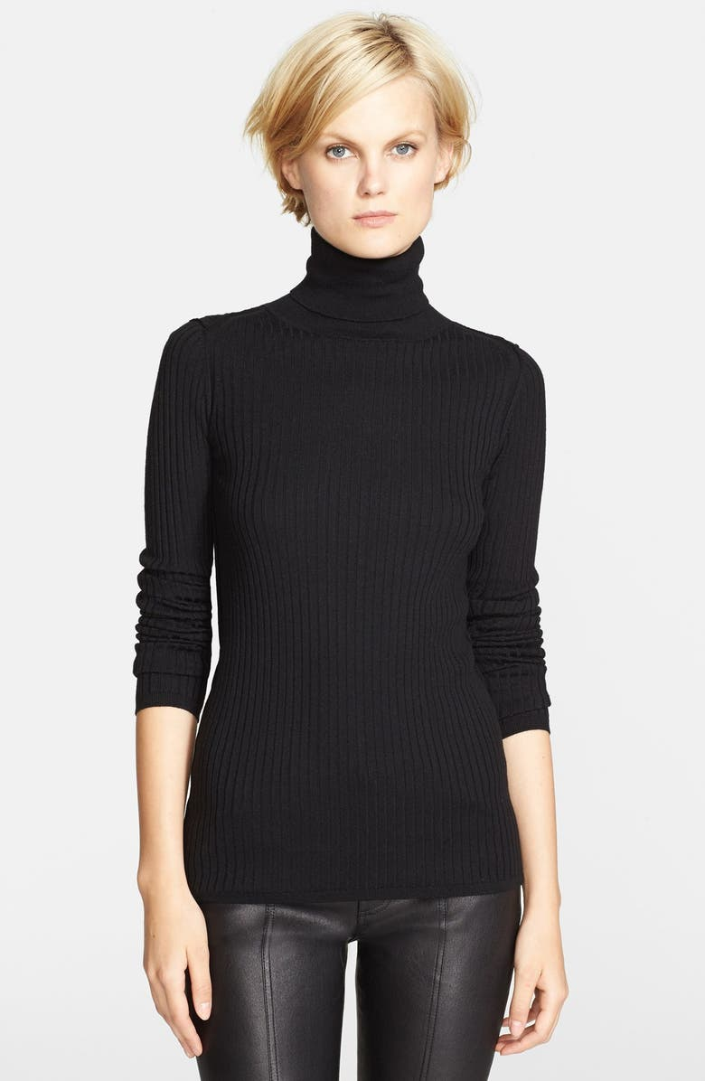 VINCE 'Skinny Rib' Turtleneck, Main, color, 001