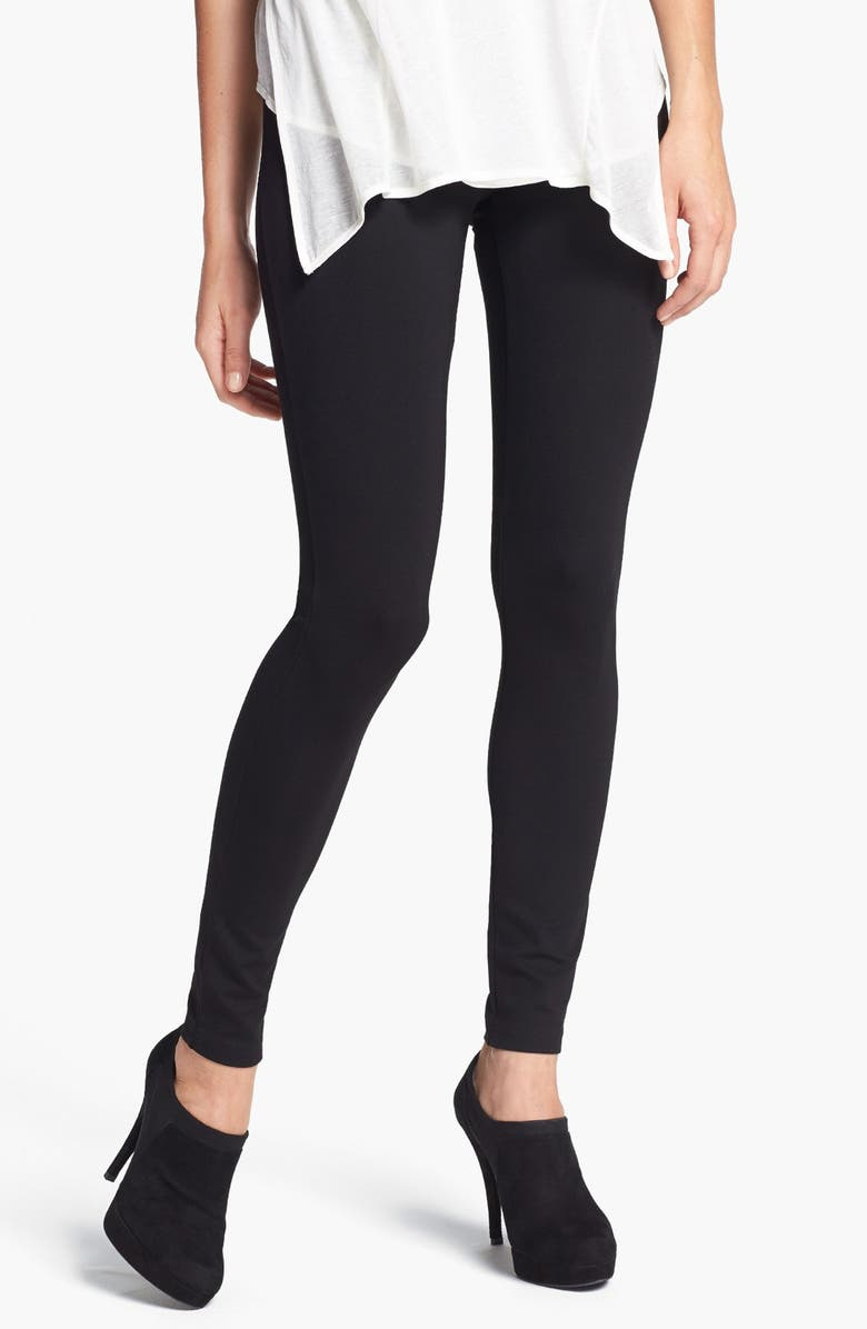 HUE Ponte Knit Leggings, Main, color, 001