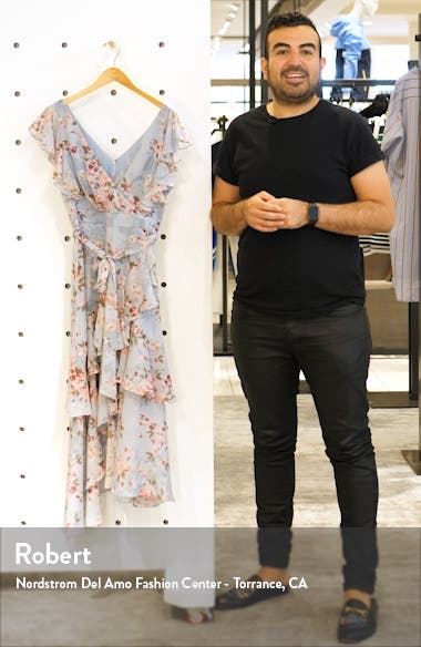 Floral Tiered Ruffle Faux Wrap Asymmetrical Dress, sales video thumbnail