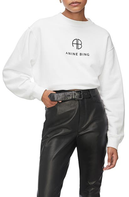 Anine Bing T-shirts RAMONA MONOGRAM COTTON SWEATSHIRT