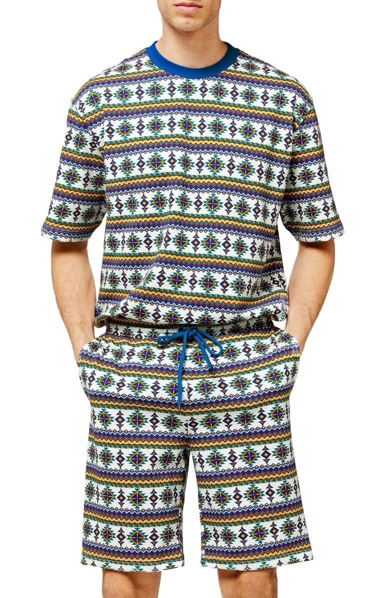 TOPMAN Geo Print Drawstring Shorts, Main, color, 001