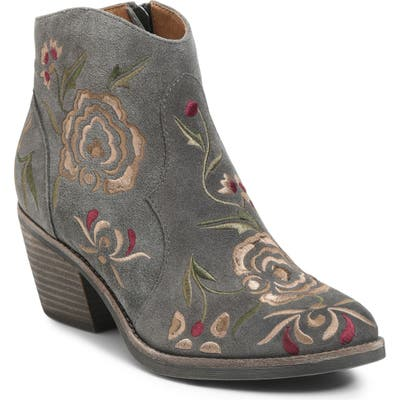 Sofft Westmont Floral Embroidered Bootie- Grey