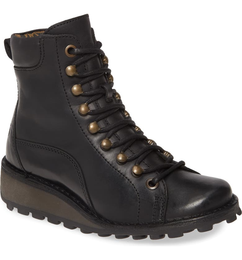 FLY LONDON Malu Moto Boot, Main, color, BLACK LEATHER